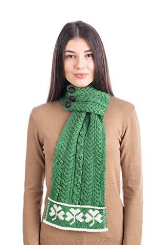 SAOL 100% Merino wol St Patrick's Day dames Loop Aran wollen sjaal, in natuurlijk/marine/groen