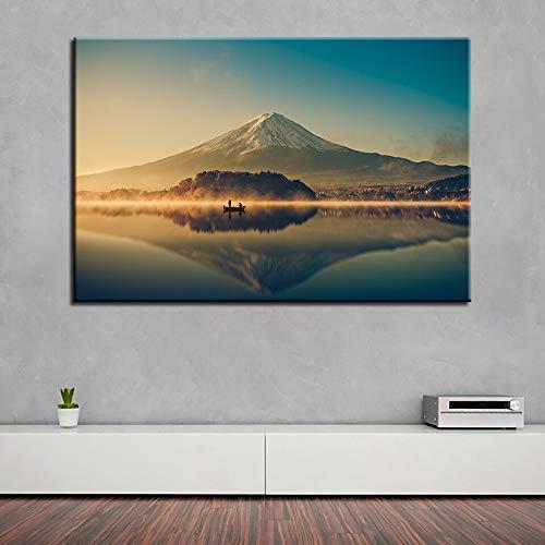 wZUN Cuadro en Lienzo, decoración para Sala de Estar, Arte de Pared, Pintura del Monte Fuji, Impresiones en HD, Hermoso Cartel del Lago del cráter 60x80 Sin Marco