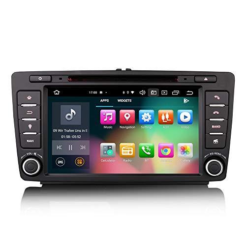 ERISIN 8 Zoll Android 10.0 Autoradio für Skoda Octavia Yeti Superb Rapid Spaceback Roomster Unterstützt GPS-Navi Carplay Android Auto DSP Bluetooth A2DP DVB-T/T2 WiFi 4G DAB+ 8-Kern 4GB RAM+64GB ROM