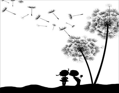 Y·JIANG Pintura por números para niños y niñas, color negro, blanco, marrón, pintura al óleo acrílica por números, para adultos, niños, decoración de la pared, 40,6 x 50,8 cm