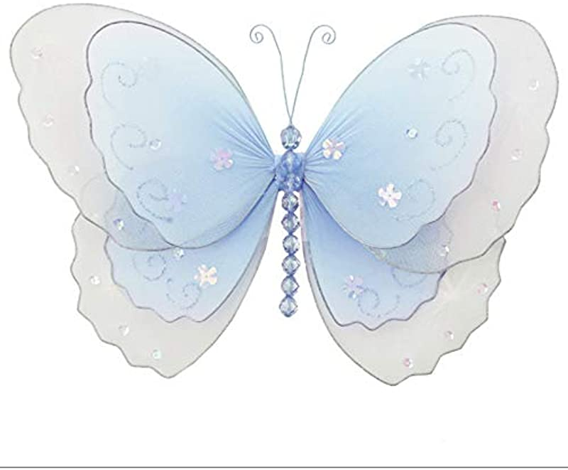 Hanging Butterfly Small 5 Blue Multi Layered Mesh Nylon Butterflies Decorations Decorate Baby Nursery Bedroom Girls Room Ceiling Wall Decor Wedding Birthday Party Baby Shower Bathroom Kid 3D Art DIY