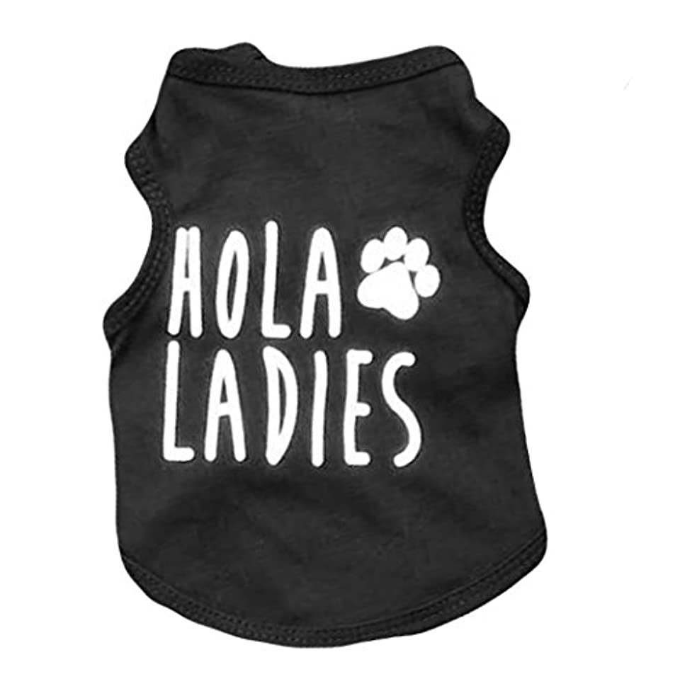 Ollypet Cool Dog Clothes Shirt for Small Dogs Black Pets Cats Boy Funny Clothing Hola Ladies Summer Teacup Apparel Top