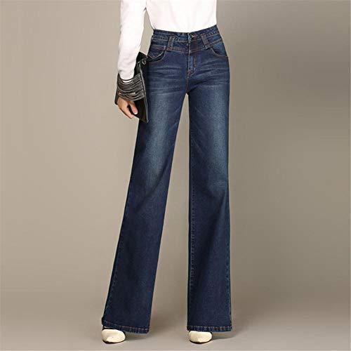 FCWJHNTSL Jeans a Gamba Larga da Donna Calda per Autunno Inverno Jeans Lunghi Dritti a Vita Alta Jeans lavati Vintage Moda Femminile Stile Semplice-Color2_26