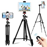 Phone Tripod, 57' Tripod for iPhone iPad Tablet Tripod Cell Phone Tripod with Remote Shutter, Cell Phone/Tablet Holder Perfect for Video Recording/Selfies/Live Stream/Vlogging