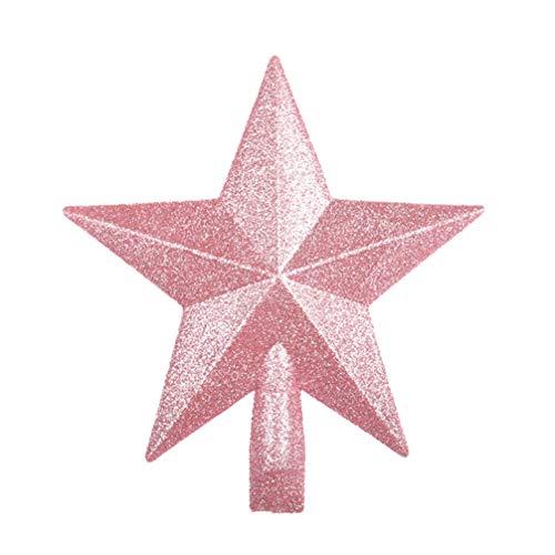 Amosfun 20 cm Weihnachtsbaumspitze Glitzer Stern Baumspitze Baumspitze Christbaumschmuck Dekoration für Urlaub Party Gastgeschenke Rosa, plastik, rose, 20 cm