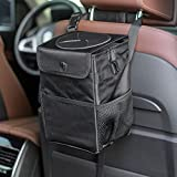 JUSTTOP Waterproof Car Trash Can with Lid and Storage Pockets, 100% Leak-Proof Car Organizer, Multipurpose Trash Can for Car(6L)