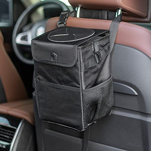 JUSTTOP Waterproof Car Trash Can with Lid and Storage Pockets, 100% Leak-Proof Car Organizer, Multipurpose Trash Can for Car