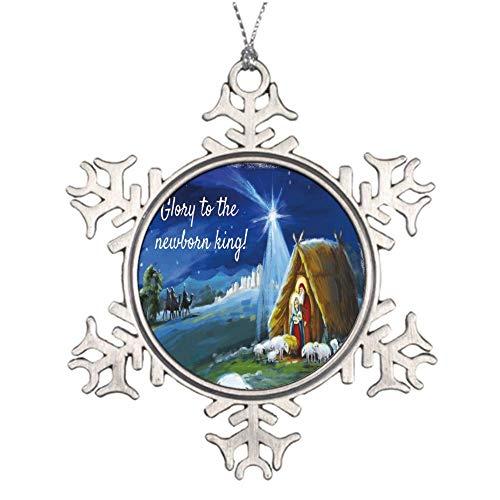 Yilooom Glory to God to The Newborn King Snowflake Ornaments Christmas Tree Decorations Metal Keepsake Gift Idea
