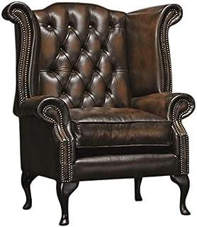Silla Chesterfield Reina Anne de cuero antiguo (3 colores opciones) (marrón)