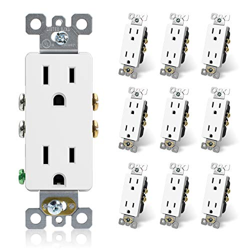 ELEGRP DecoratorReceptacle, 15A 125V Standard Electrical Wall Outlet, 2 Pole 3 Wire, NEMA 5-15R, Self-Grounding Residential Grade Straight Blade Decorative Duplex Outlet, UL (Glossy White, 10 Pack)