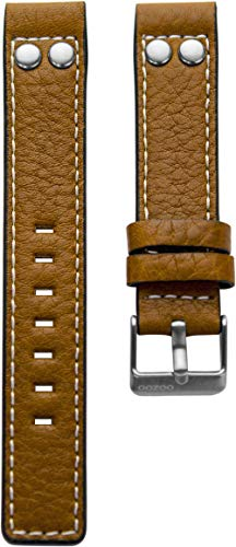 Oozoo Armband Uhrenband Uhrenarmband Leder Lederband mit Dornschließe Cognac/Niete - 20 mm