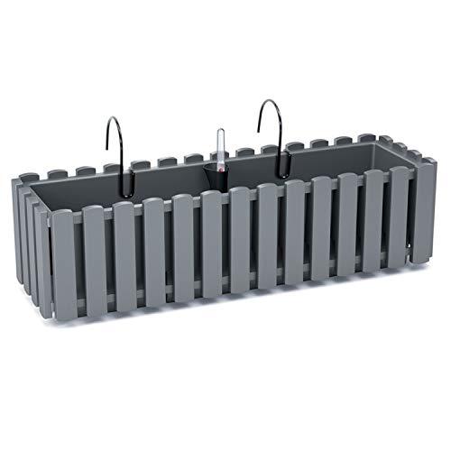 Prosperplast Boardee Fencycase Balkonkasten mit Aufhängung und Bewässerungssystem Blumenkasten Blumentopf mit Haken Pflanzkasten (580 mm Länge, Grau)