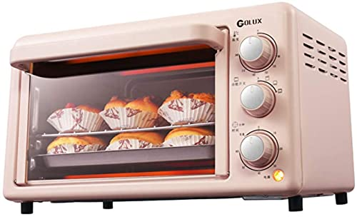 Compact electric oven, 19L multi-function mini oven, 1200W, 0~240 ℃ independent temperature control, 0-60 minutes timer, standard accessories, pink