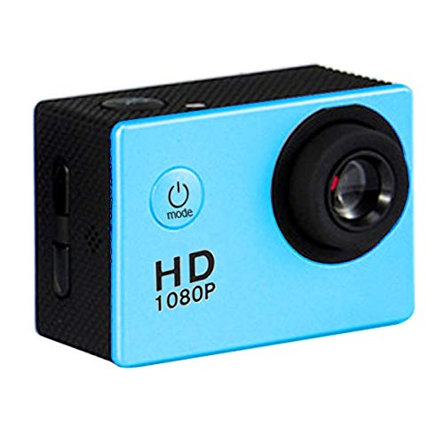 Camera Cámara Deportiva HF40 con Estuche a Prueba de Agua de 30 m, Generalplus 6624, Pantalla LCD de 2.0 Pulgadas (Negro) claramente Alta (Color : Blue)