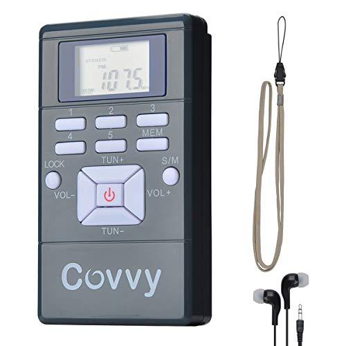 COVVY Mini Radio Receptor de FM Portátil Reloj Digital de Radio Estéreo con Auriculares para Conferencia Conferencia de Audición de Interpretación Simultánea, Equipo de la Guía