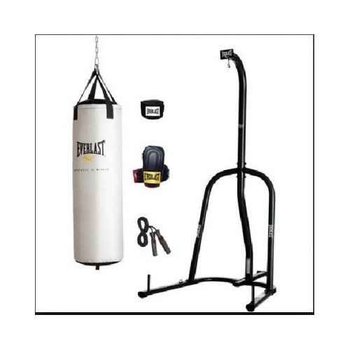 Everlast 80-lb Platinum Heavy Bag, Boxing Gloves, Wrist Wraps, Jump Rope and Heavy Bag Stand Bundle