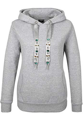 Fresh Made Damen Sweathoodie mit Strassstein Kordeln Light-Grey S
