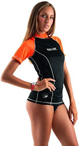 Camiseta preteccion solar Mujer Rash Guard para esnorkel y natación Anti UV, Mujeres, Negro/Anaranjado, M