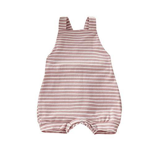 Julhold Neugeborenes Baby Mädchen Jungen Streifen Rückenfrei Lässige Baumwolle Strampler Overall Outfits Sunsuit 0-3 Jahre