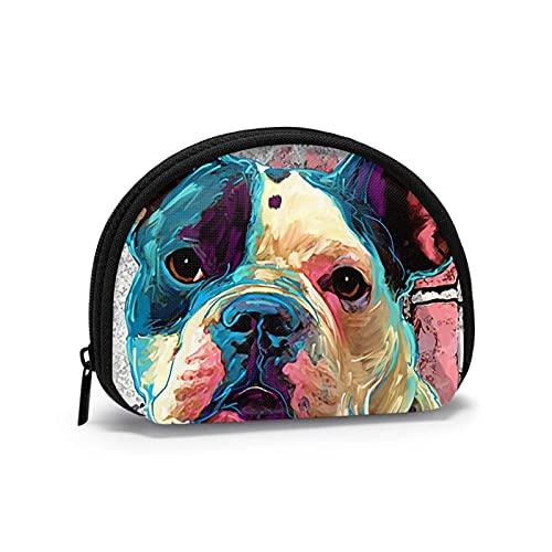 Bulldog francés rosa arte perro impreso temático cambio monedero lindo Shell almacenamiento bolsa niña carteras Bule monederos clave bolsa Gifys mujer novedad