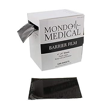 MonMed Barrier Film and Film Box Dispenser - 1200 Black Tape Barrier Sheets Medical Barrier Film 4 x 6 Inch