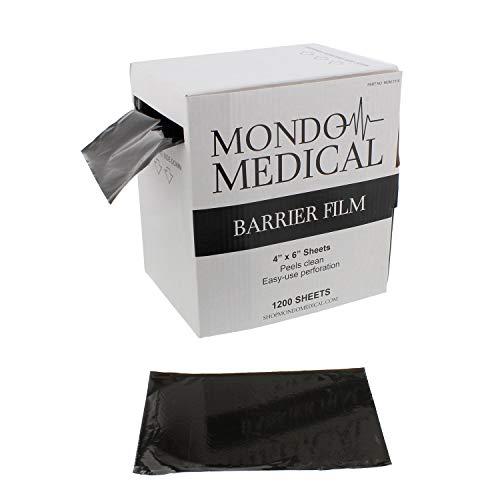 MonMed Barrier Film and Film Box Dispenser - 1200 Black Tape Barrier Sheets Medical Barrier Film, 4 x 6 Inch