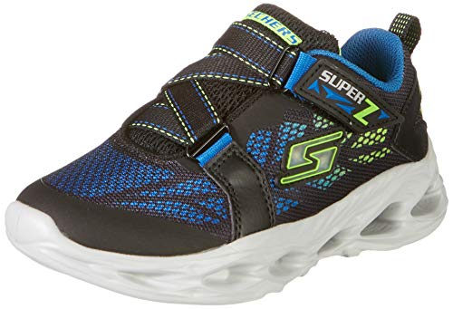 Skechers Kids Boy's Vortex-Flash-Denlo Sneaker, Black/Blue/Lime, 12 Medium US Little Kid
