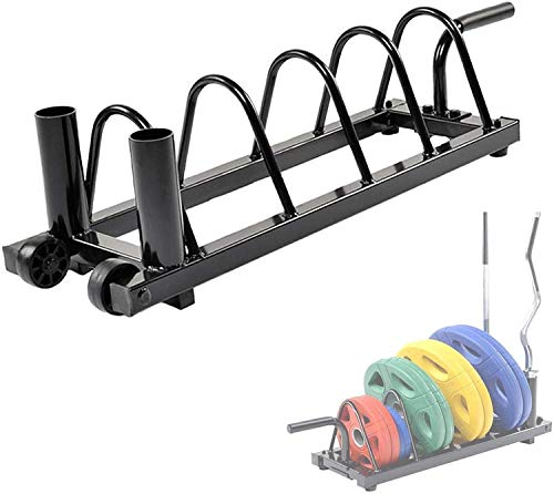 VULID Home Barbell Bumper Plate Rack with Portable Pulley, Gym Steel Olympic Weight Plate Organizer, Easy To Move Horizontal Plate Holder, Save Space