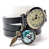 montre bracelet en cuir noir, montre multirangs'Le chat au parapluie', montre 3 tours de poignet, montre breloques et cabochon...