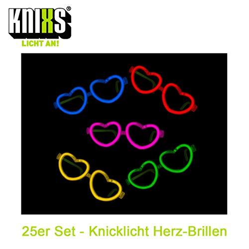 KNIXS Knicklicht Herzbrille - Brille in Herzform (25er Party-Set) im 6-Farb-Mix Leuchtend - für Party, Disko, Festival, Geburtstag oder Karneval - Lange Leuchtdauer