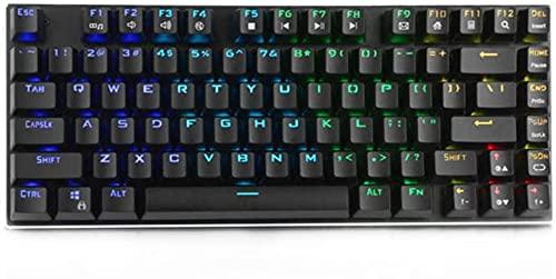 Teclado del juego 81 teclas USB con cable de luz de fondo azul interruptor de la máquina del juego teclado mecánico del juego (color: negro, tamaño: solo código)
