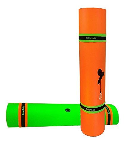 Rubber Dockie Duckling 9x6-Feet Floating Mat, Orange, Green
