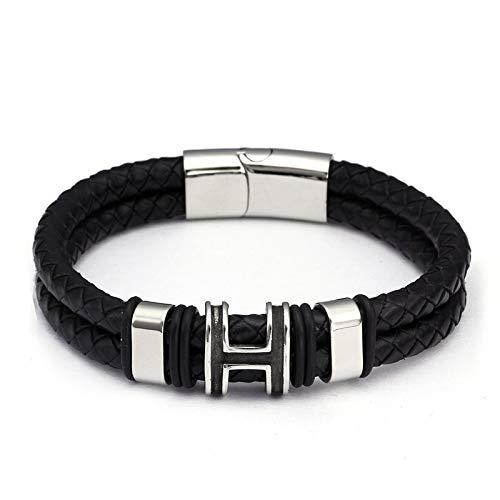 Weichuang Pulsera de diseño de doble capa para hombres y hombres, pulseras de cuero genuino de moda de acero inoxidable eslabones de cadena pulseras pulseras (metal color: plata)