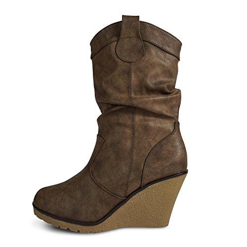 Damen Stiefel leicht gefüttert Stiefeletten Keilabsatz Boots ST188 Schlupfstiefel High Heels (37, Braun)