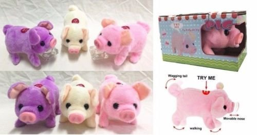 1pc of Walking, Moving, Oinking, Tail Wagging Plush Baby Mini Pig Piggy in Random Color