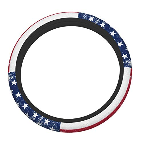Cubierta para volante de coche con diseño de estrellas americanas vintage patrióticas con rayas elásticas y cómodas, de neopreno, universal de 15 pulgadas, protector duradero