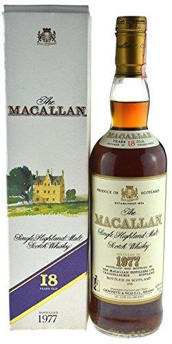 Rarität: The Macallan Whisky Jahrgang 1977, 18 Jahre alt, abgefüllt 1995, 0,7l Originalabfüllung mit Geschenkkarton