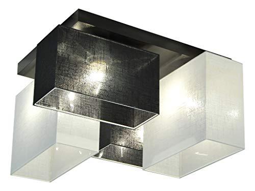 Deckenlampe - HausLeuchten JLS44SCWED - 4 Varianten, Deckenleuchte, Leuchte, Lampe, 4-flammig, Massivholz (SCHWARZ/WEIß)