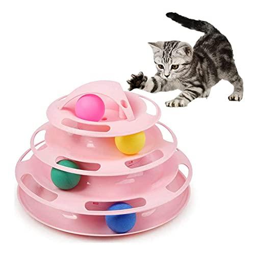 123 Life Cat Toys Interactive, Gato interactivo Bola de gato Juguete de gato giratorio Juguetes círculo pista con bolas móviles diversión interactiva adecuada para varios gatos (rosa)