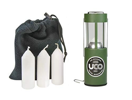 UCO Original Candle Lantern Value Pack with 3 Candles and Storage Bag, Green, One Size