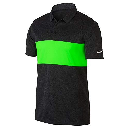 Nike Breathe Color Block Golf Polo Black Heather/Green Strike/White Small
