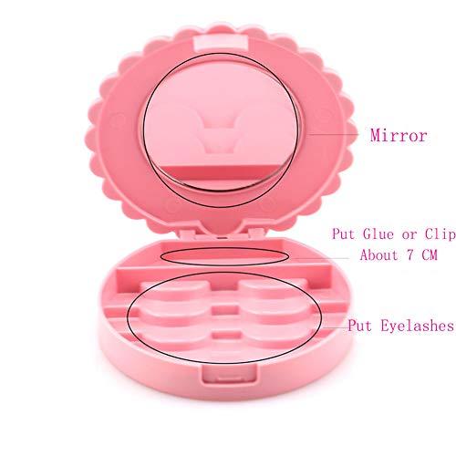 YiQiYi Cosmetic Case with Mirror Eyelash Case Makeup Storage Box Travel Cosmetic Bag Pink Place Eyelashes