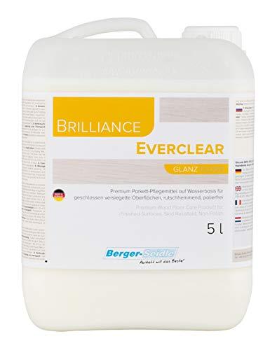 Berger-Seidle Parkettpflege|Brilliance L93 Everclear | 5 Liter| + 1 weiches Poliertuch| Parkett-Pflegemittel für versiegeltes Parkett, Treppen,Holzböden Laminat| glänzend