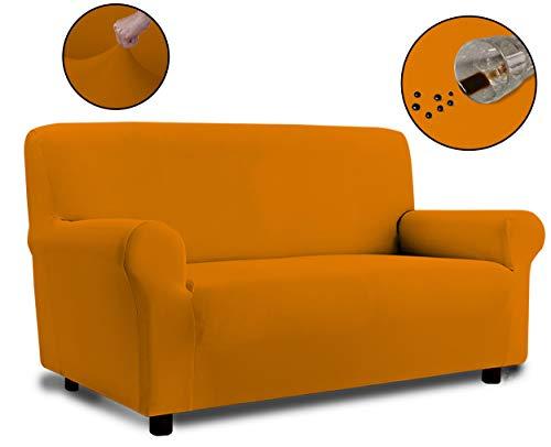 Banzaii Copridivano 3 Posti Arancione – Elasticizzato Antimacchia – Estensibile da 150 a 200 cm con braccioli sagomati - Made in Italy