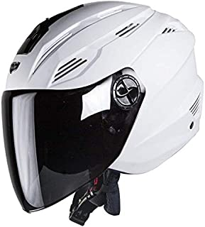 Steelbird Air SBA-6 Fuze Dashing Open Face Helmet with Smoke Visor (White, M)
