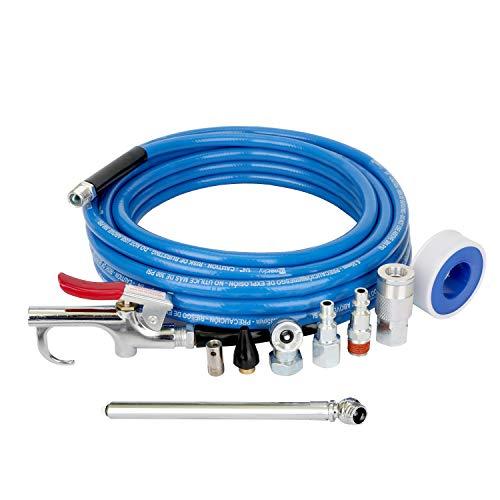 WYNNsky 1/4 Inch × 25FT PVC Air Hose with 9 Pieces Air Compressor Accessories, Air Blow Gun, 1/4 Inch NPT Air Fittings, Ball Air Chuck and Tire Gauge