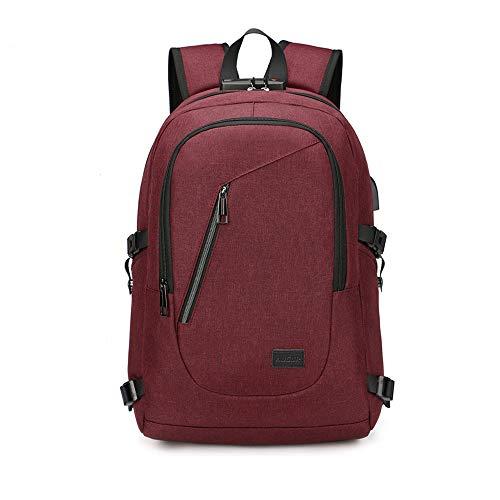 MINGZE Mochila antirrobo Impermeable, Mochila para portátil Multiusos Daypacks con Puerto de Carga USB (Rojo)