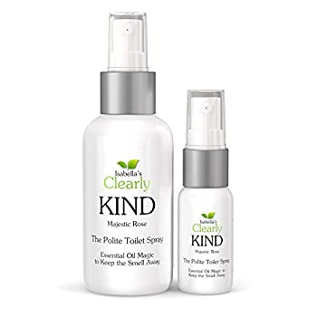 Clearly Kind The Polite Odor Eliminator Before You Poop  Toilet Spray | Essential Oil Magic to Keep The Smell Away | 4 Oz for Bathroom + 1 Oz for Travel  Majestic Rose