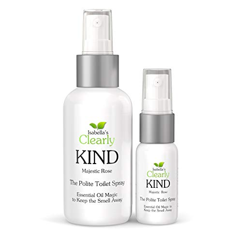 Clearly KIND, The Polite Odor Eliminator  Before you Poop  Toilet Spray | Essential Oil Magic to Keep the Smell Away | 60ml for Bathroom + 10ml for Travel (Majestic Rose)