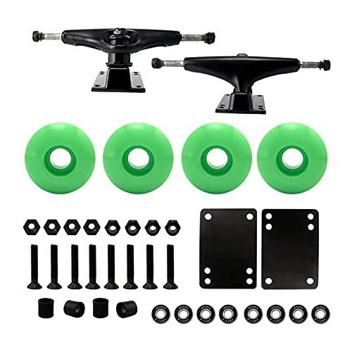 Sharplace Paquete de monopatín de 5,0'Camiones con componentes de Ruedas de 52mm - Verde Ruedas